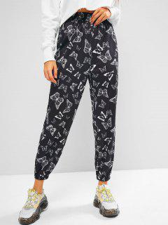 ZAFUL High Rise Butterfly Print Jogger Pants - Black S