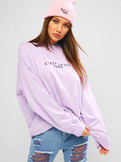 ZAFUL Embroidered Oversized Drop Shoulder Boyfriend Hoodie - Mauve M