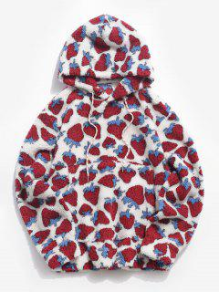 Strawberry Pattern Teddy Hoodie - White S