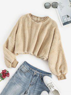 Cropped Fluffy Oversized Sweatshirt - Apricot L