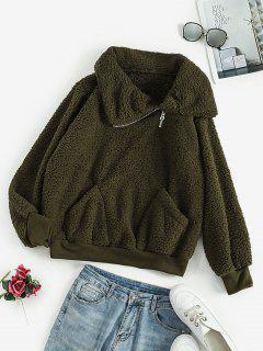 Quarter Zip Pockets Loose Teddy Sweatshirt - Dark Green L