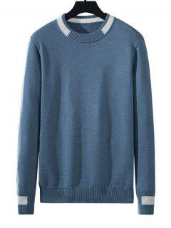 Colorblock Stripe Pullover Knit Sweater - Silk Blue L