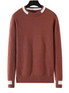 Colorblock Stripe Pullover Knit Sweater - Chestnut Red Xs