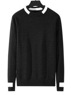 Colorblock Stripe Pullover Knit Sweater - Black M