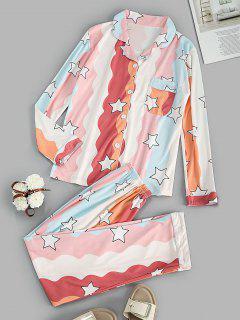 Star Print Pocket Shirt Pajama Pants Set - Orange L