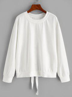 Solid Lace Up Back Sweatshirt - White S