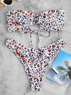 ZAFUL Animal Print Bow High Cut Bandeau Bikini Swimwear - Rust S