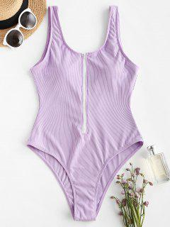 ZAFUL Half Zip Ribbed Sporty One-piece Swimsuit - Light Purple L