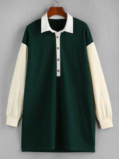 ZAFUL Contrast Colorblock Drop Shoulder Knit Dress - Dark Forest Green M