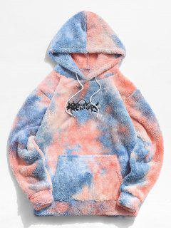 Tie Dye Letter Embroidery Fluffy Hoodie - Blue Xl