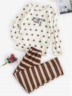 Striped Hearts Pocket Plush Pajamas Pants Set - White S
