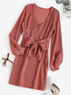 Long Sleeve Tie Waist Ribbed Surplice Dress - Pink Xl