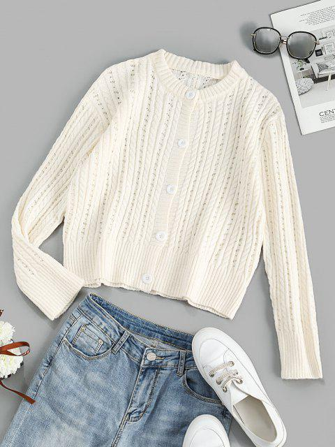 latest Crew Neck Button Up Cable Knit Cardigan - WHITE ONE SIZE Mobile
