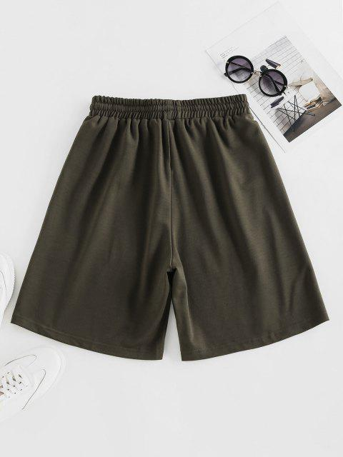 women's ZAFUL Letter Graphic Drawstring Bermuda Shorts - DEEP GREEN L Mobile
