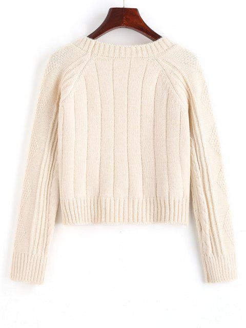 sale Raglan Sleeve Cable Knit Fisherman Sweater - WHITE ONE SIZE Mobile