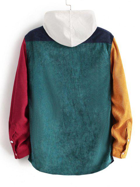 hot Colorblock Panel Long Sleeve Corduroy Shirt - RED M Mobile