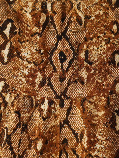womens High Waisted Snake Print Short Leggings - COFFEE L Mobile
