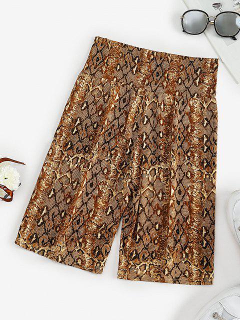 hot High Waisted Snake Print Short Leggings - COFFEE M Mobile