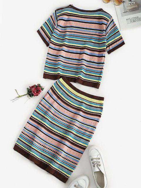 outfits Striped Pattern T-shirt and Skirt Knitwear Set - MULTI ONE SIZE Mobile