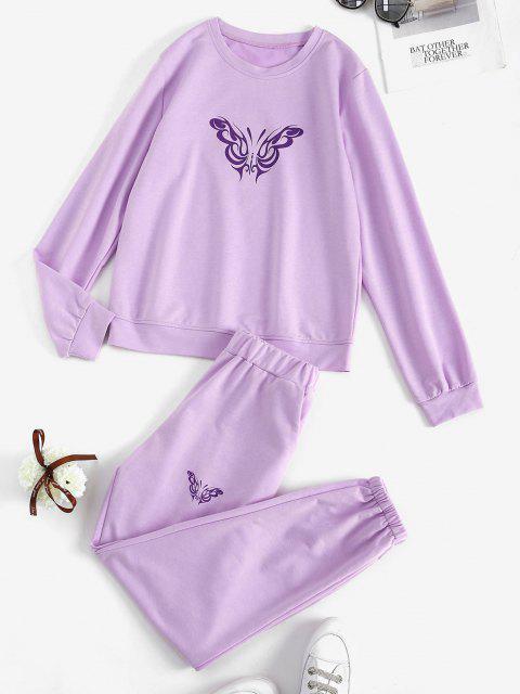 hot Sweat Butterfly Print Co-ord Pants Set - LIGHT PURPLE S Mobile