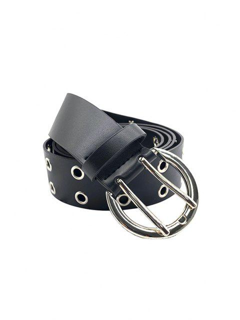 shops Double Row Grommet Buckle Belt - BLACK  Mobile