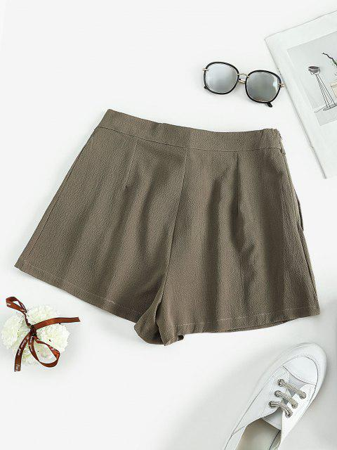 hot Self Tie Pleated Mini Shorts - LIGHT GREEN S Mobile