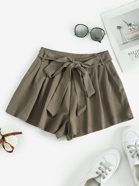 fashion Self Tie Pleated Mini Shorts - LIGHT GREEN L Mobile