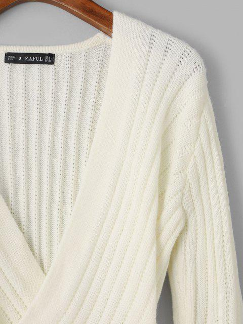 latest Solid Criss Cross V Neck Sweater - WHITE ONE SIZE Mobile