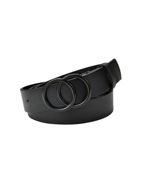 Solid Double Circle Buckle Belt - أسود  Mobile