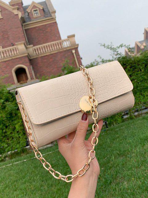 chic Chain Croc Print One Shoulder Bag - WHITE  Mobile