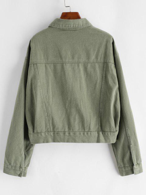 fancy Button Up Flap Detail Denim Jacket - DEEP GREEN M Mobile