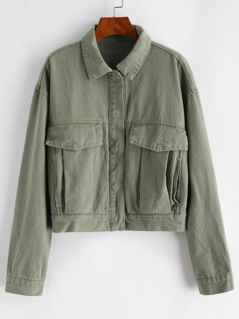 womens Button Up Flap Detail Denim Jacket - DEEP GREEN S Mobile