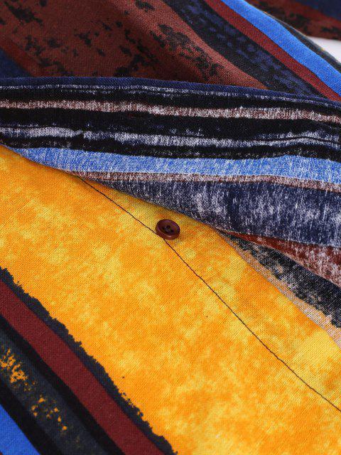 縦のストライプ民族の長袖シャツ - マルチ 2XL Mobile