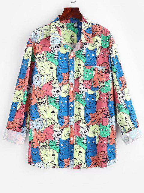 漫画の動物の総模様柄ポケットシャツ - マルチ XL Mobile