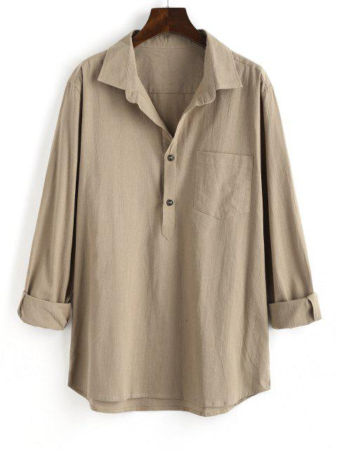 lady Half Button Pocket Patch Solid Long Sleeve Shirt - LIGHT COFFEE S Mobile