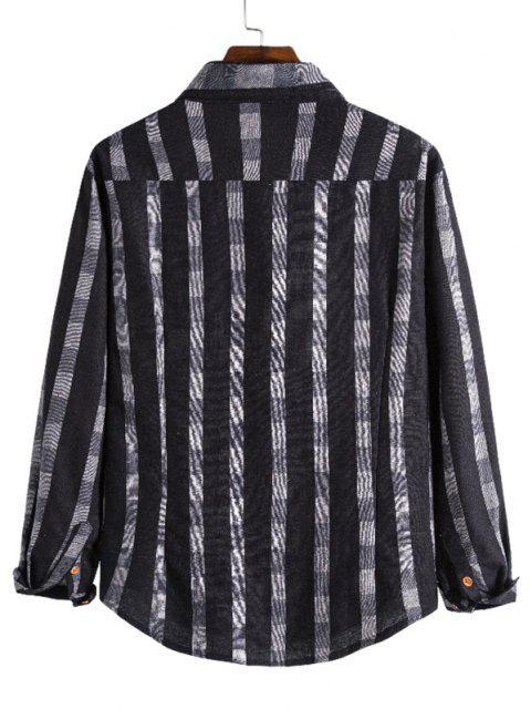 チェックストライプ印刷ボタン付きレジャーシャツ - ブラック 2XL Mobile