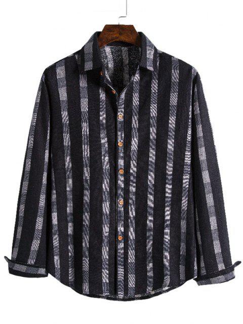 shop Checked Stripe Print Button Up Leisure Shirt - BLACK XL Mobile