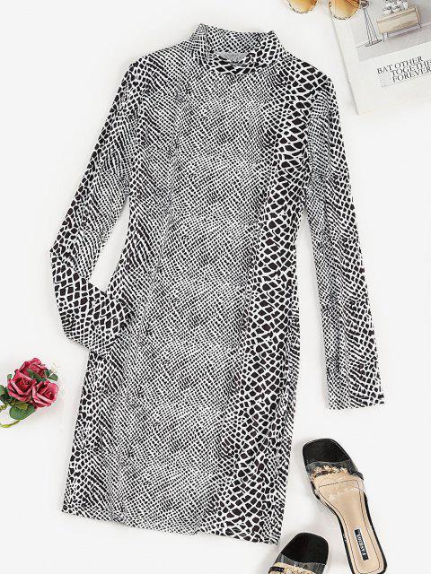 outfit Mock Neck Spot Print Bodycon Dress - BLACK XL Mobile
