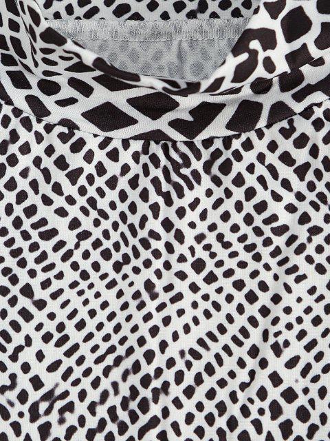 fashion Mock Neck Spot Print Bodycon Dress - BLACK M Mobile