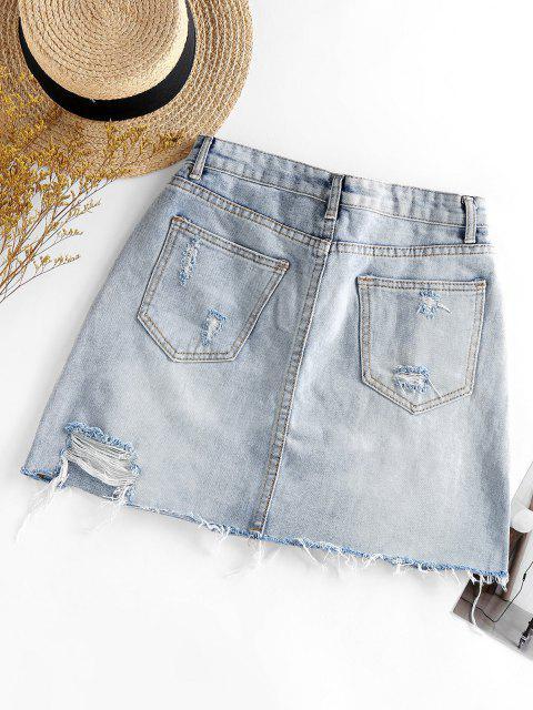 women's Ripped Mini Denim Skirt - LIGHT BLUE XL Mobile