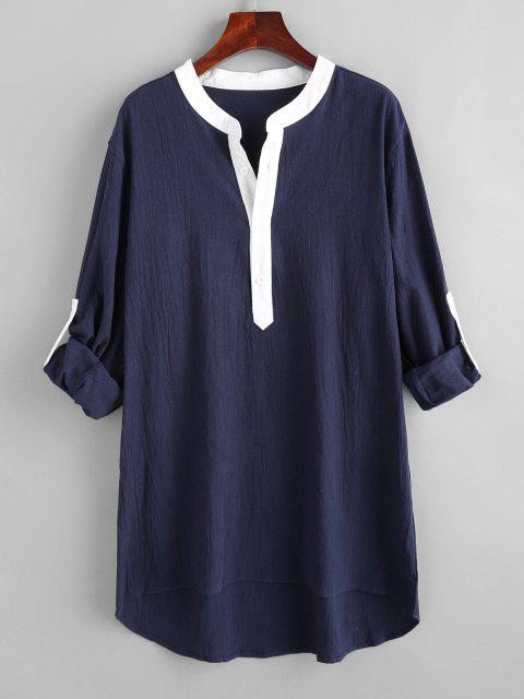 fancy Colorblock Half Button High Low Shirt - BLUE 2XL Mobile