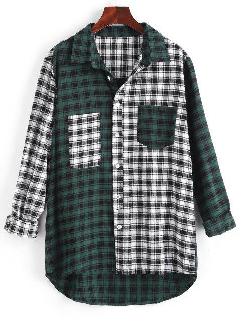 best Colorblock Plaid Pocket High Low Shirt - MULTI M Mobile