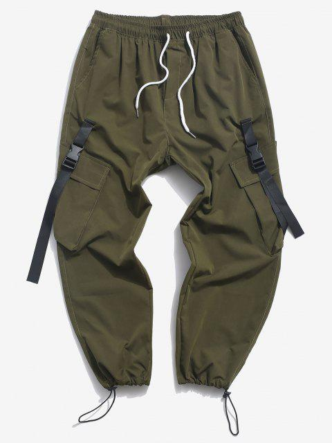 outfits Buckle Strap Flap Pocket Cargo Pants - DEEP GREEN XS Mobile