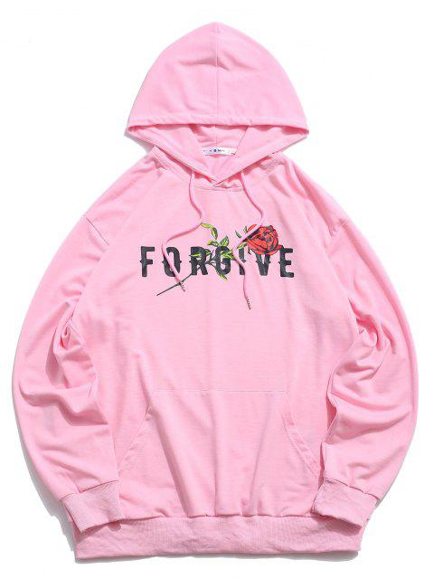 trendy ZAFUL Forgive Rose Pattern Hoodie - LIGHT PINK S Mobile