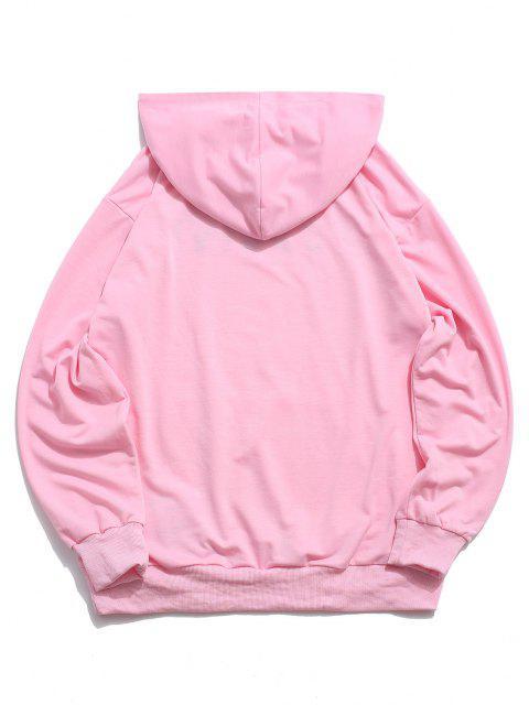 ZAFUL Hälfte Zugeknöpfter Stein Sweatshirt - Hell-Pink 2XL Mobile