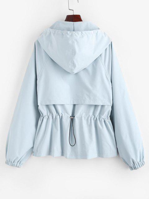 outfits Hooded Zip Up Raglan Sleeve Cargo Jacket - LIGHT BLUE M Mobile