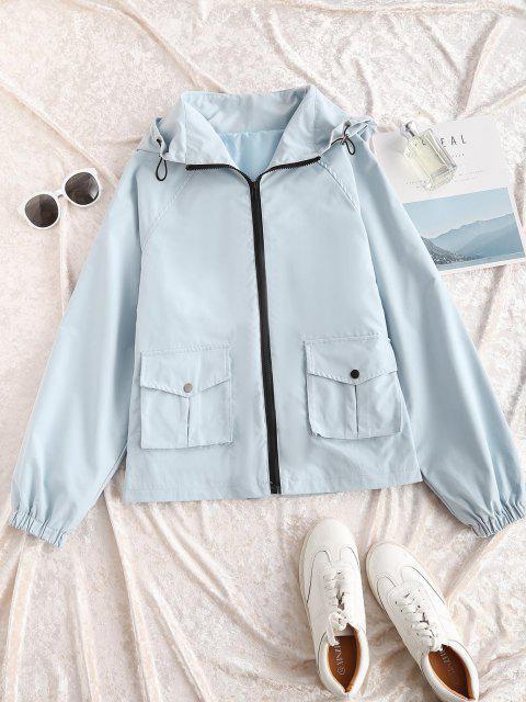 Hooded Zip Up Raglan Sleeve Cargo Jacket - أزرق فاتح L Mobile