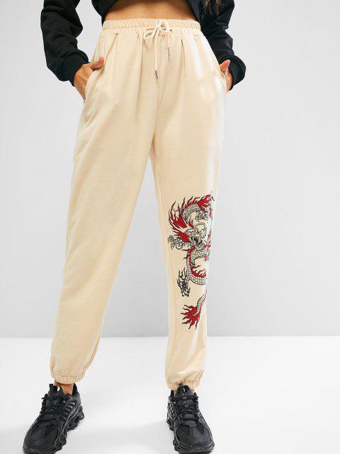 ZAFUL Pantalones Deportivos con Cordón con Estampado de Dragón - café luz M Mobile
