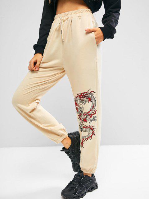 new ZAFUL Oriental Dragon Print Drawstring Jogger Sweatpants - LIGHT COFFEE S Mobile