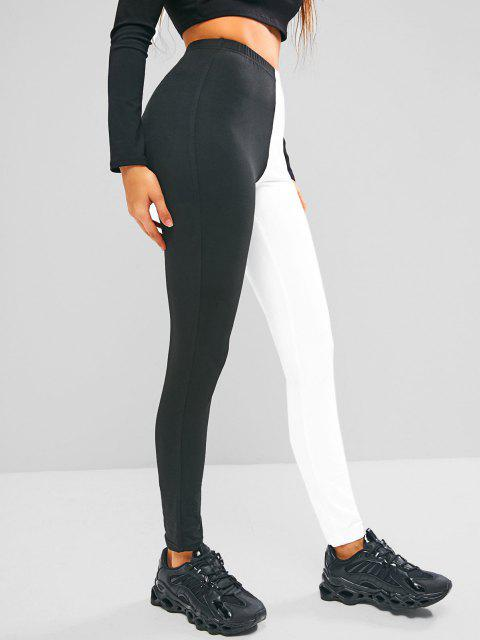trendy ZAFUL Two Tone Bicolor High Waisted Leggings - MULTI-B XL Mobile